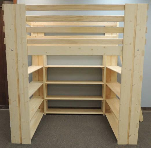 Loft Bed with Shelves Made in USA Custom Loft Bed