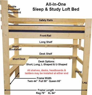 Loft Bed Plans Amp Bunk Beds Plans Amp Ready To Assemble Kits