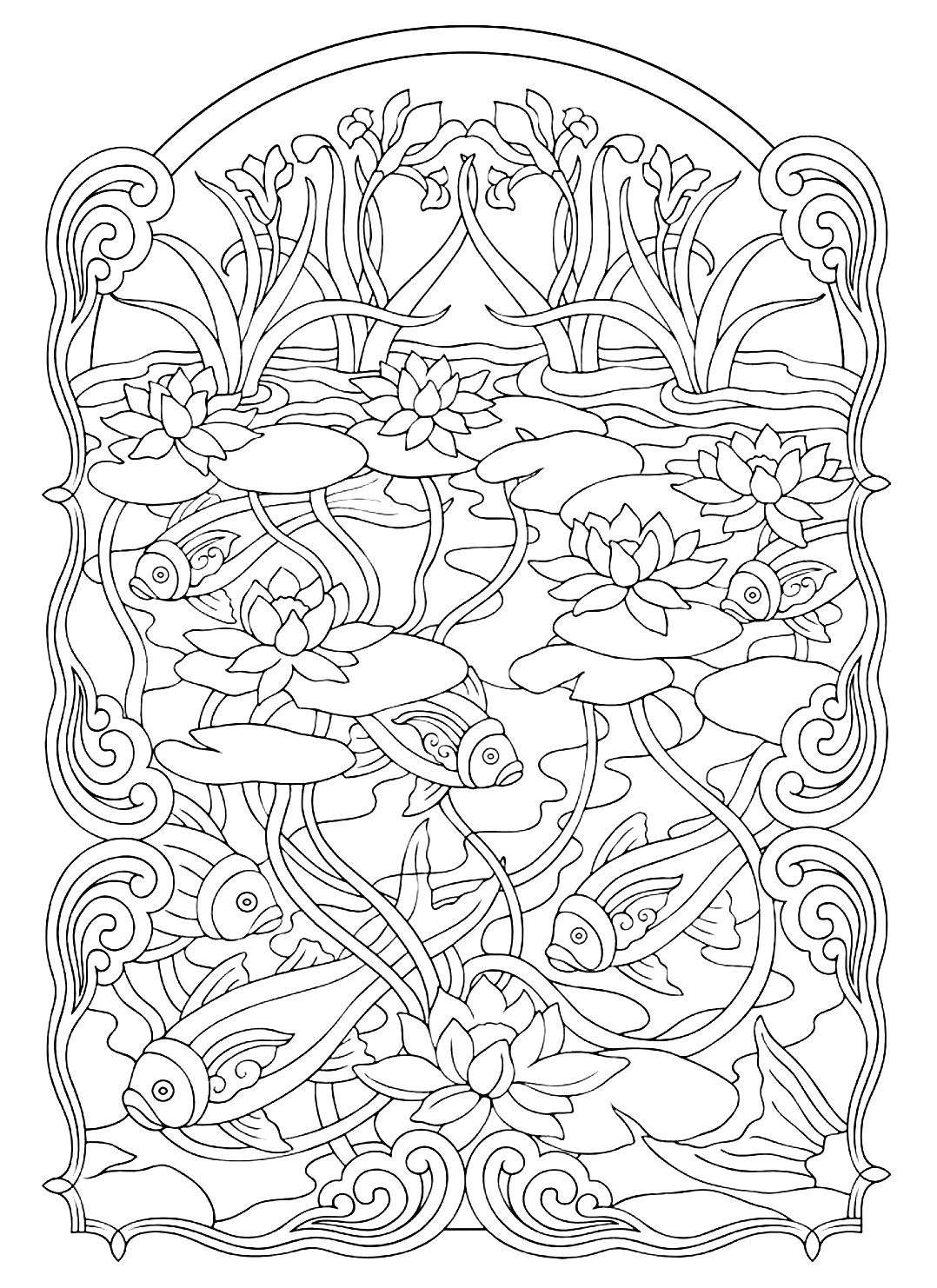 Pond Fish Coloring Pages