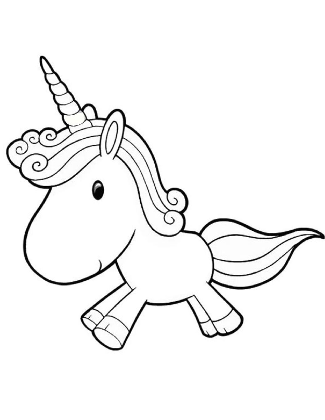 Printable Cartoon Unicorn Coloring Page Coloringpagebook