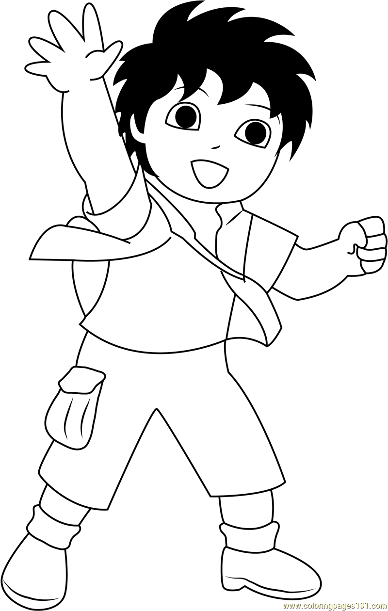 Diego say hi coloring page free go diego go coloring, superman coloring pages