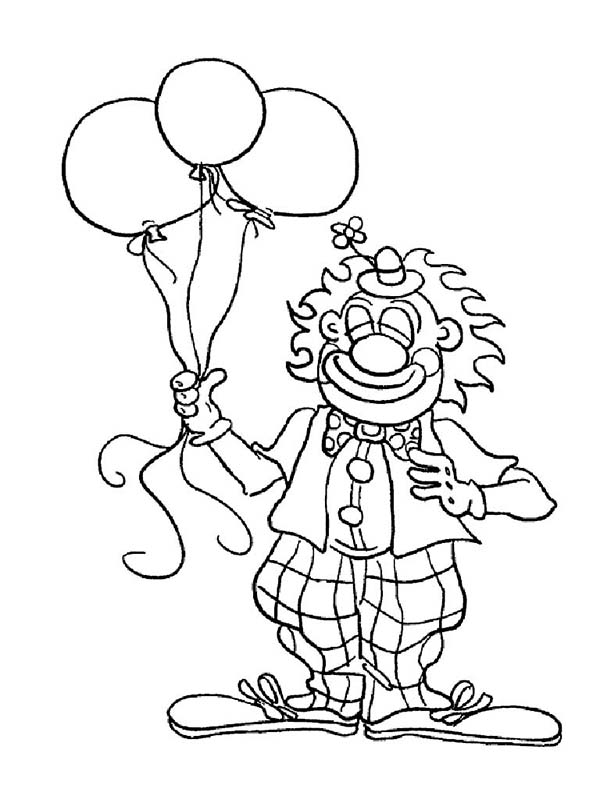 Clown Balloons Coloring Page