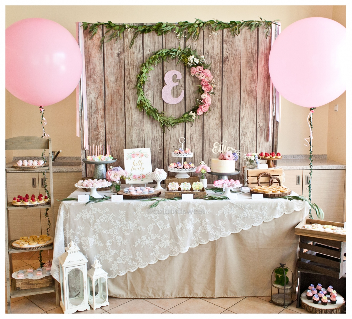 Baby Ellie S Rustic Floral Full Month Celebration