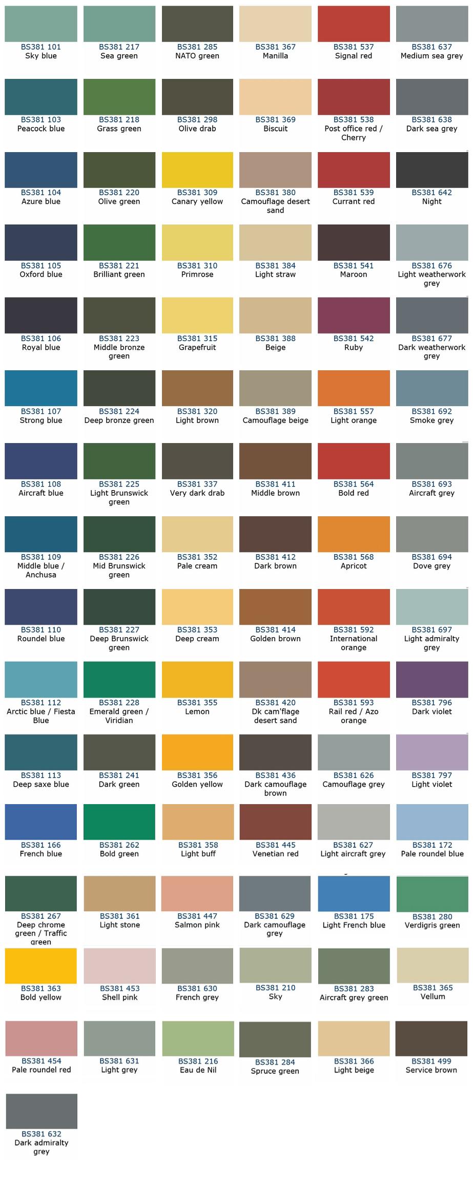 Vehicle Paint Color Chart