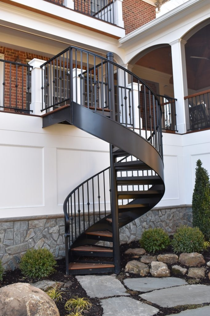 Exceptional Railing And Spiral Stair For Back Deck Compass Iron   Iron Works Spiral Stairs   Stair Railing   Stair Case   Stair Treads   Handrail   Wrought Iron