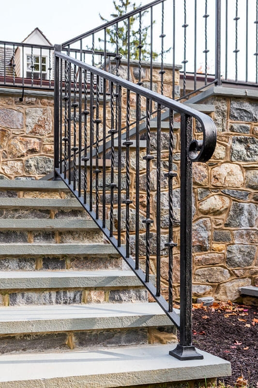 Exterior Railings Compass Iron Works | Outdoor Railings For Steps | Exterior | Outside | Residential | Staircase | Interior