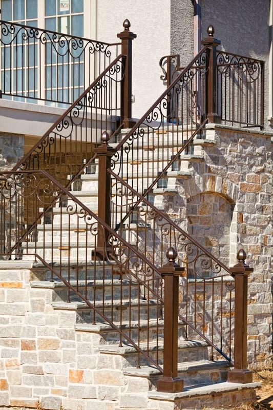 Exterior Railings Compass Iron Works | Outdoor Iron Stair Railing | Garden | Flat Iron | Decorative | Deck | Rustic