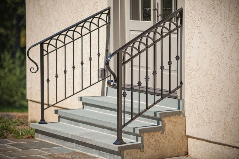 Exterior Railings Compass Iron Works | Metal Railing For Steps Outside | Front Porch | Deck Stair | Aluminum | Deck Railing | Staircase