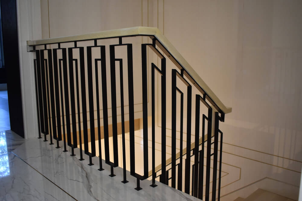 Interior Railings Compass Iron Works | Interior Iron Stair Railing | Minimalist Simple Stair | Fancy | Staircase | Residential | Stair Outside
