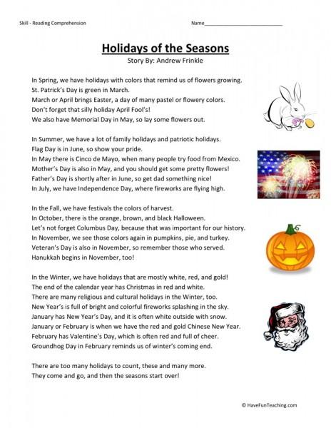 Reading 5 Comprehension Thankgiving Left Grade Overs