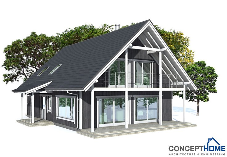 Small house plan CH137 in Nordic architectural style  House Plan CH137