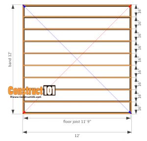 12x12 Shed Plans Gable Floor Frame Construct101