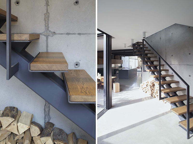 Stairs Design Idea Combine Wood And Metal For A Warm Industrial Look   Steel And Wood Staircase   Steel Cable   Construction   Beautiful   New Model   Detail
