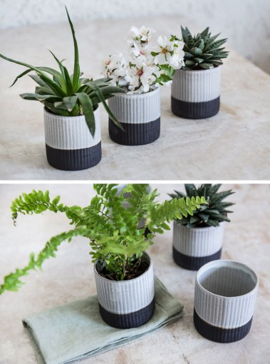 Fun And Functional Tabletop Planters Are An Easy Addition To Your     A ribbed texture on the exterior of these two tone black and white ceramic  planters gives them an organic look