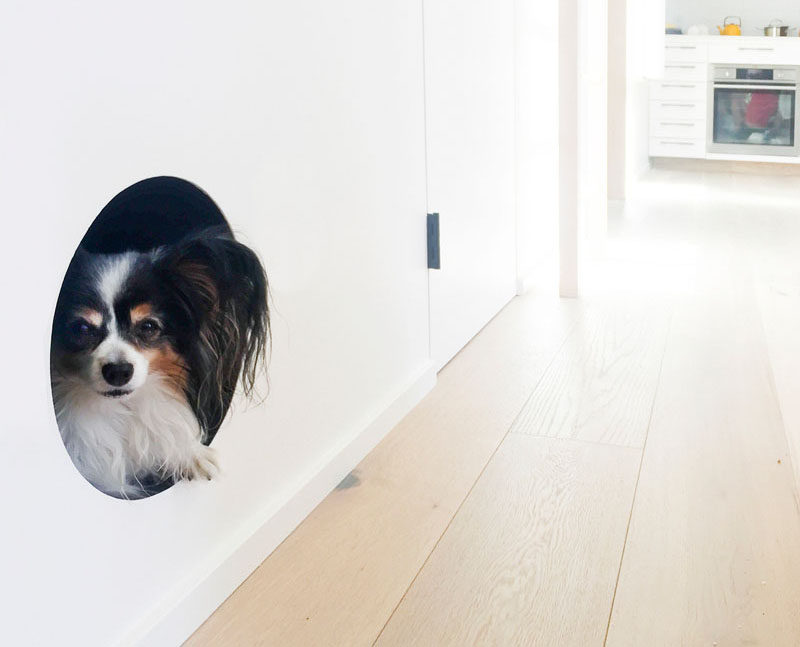 A Built In Dog Bed Was Created In This Living Room Wall