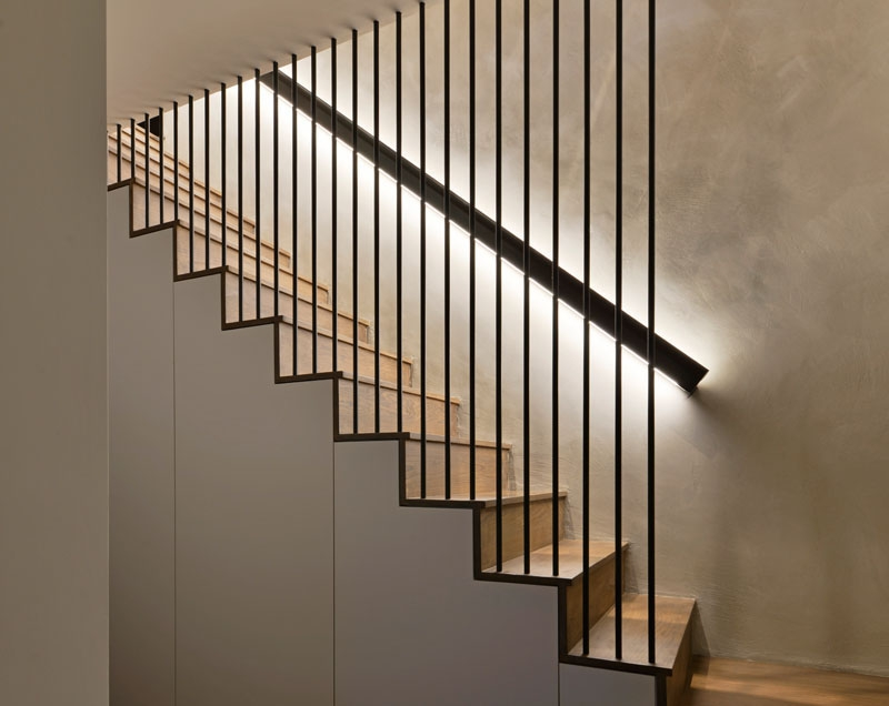 Design Detail These Wood Stairs Have A Handrail With Hidden Lighting | Modern Wood Stair Railing | Creative Outdoor Stair | Traditional | Indoor | Balustrade | Cherry Wood