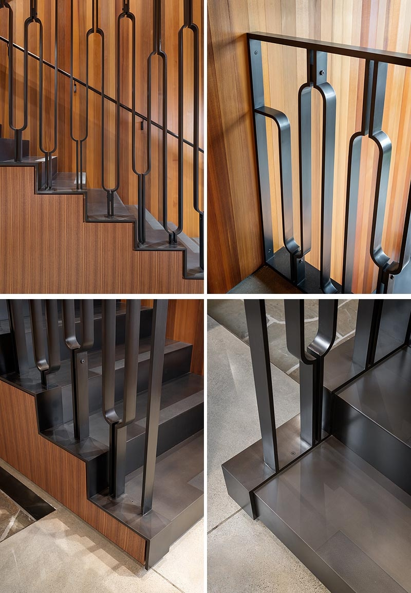 This Black Metal Stair Railing Makes A Strong Statement With Its U | Black Metal Handrail For Stairs | Rod Iron | Metal Railing | Iron Pipe | Natural Wood | Artistic