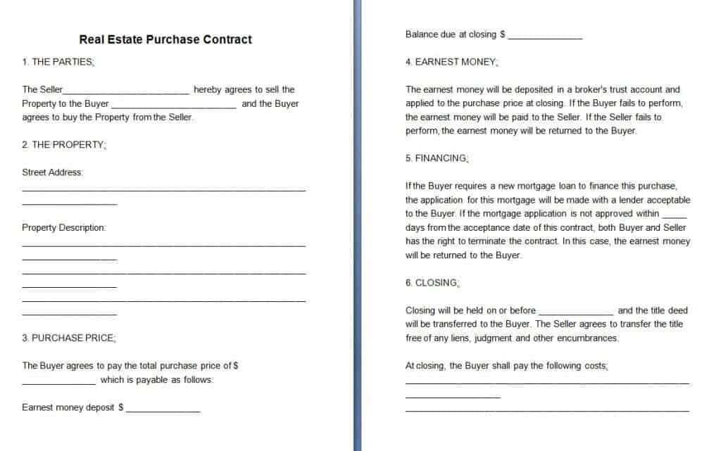 buyers contract template – Real Estate Purchase Agreement Template Free