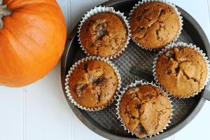Streusel Stuffed Pumpkin Toffee Muffins via Cookie Dough and Oven Mitt