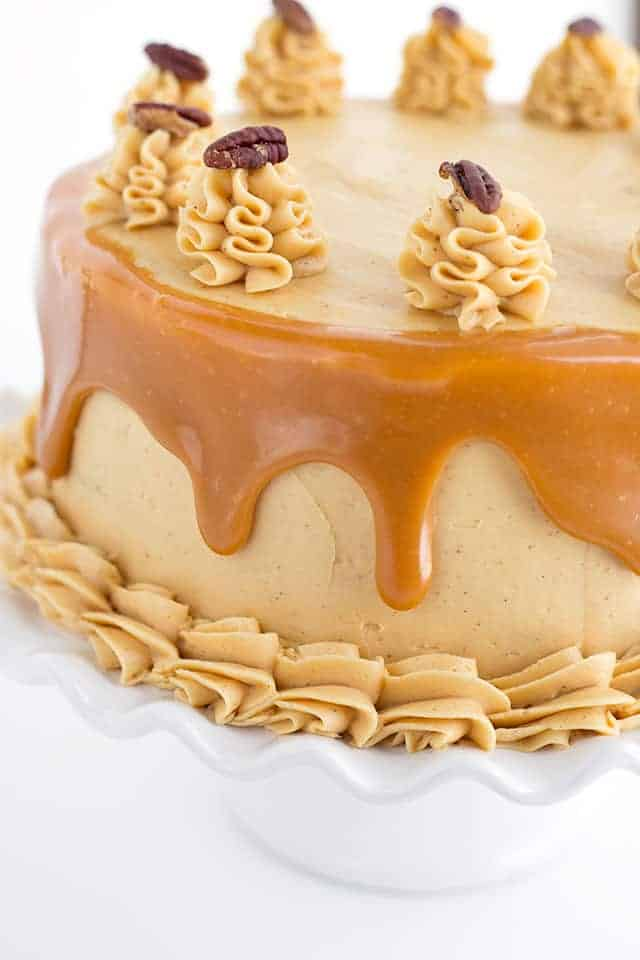 Close up of the carrot cake with caramel buttercream