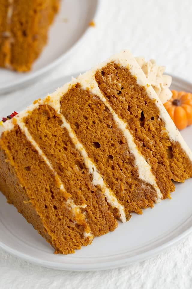 close up of slice of pumpkin spice cake