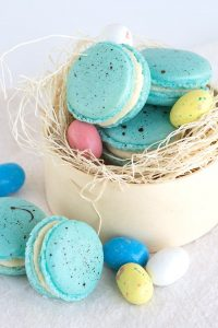 Malted Milk French Macarons - beautiful robin egg inspired macarons filled with a malted milk frosting that's perfect for Easter!