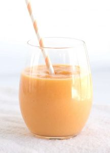 Tropical Fruit Smoothie - beautiful orange smoothie full of pineapple, papaya and peach!