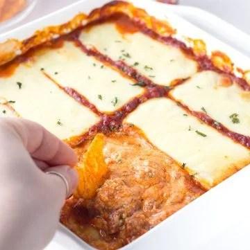 hot Lasagna Dip baked into a casserole dish