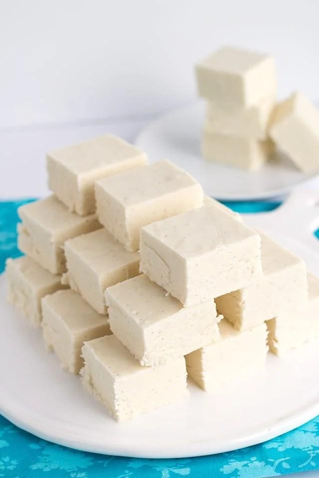 platter of vanilla fudge squares