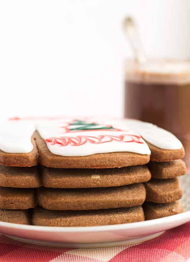 stack of hot cocoa cookies on plate