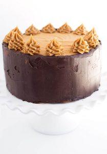 A shot at eye level of mocha layer cake