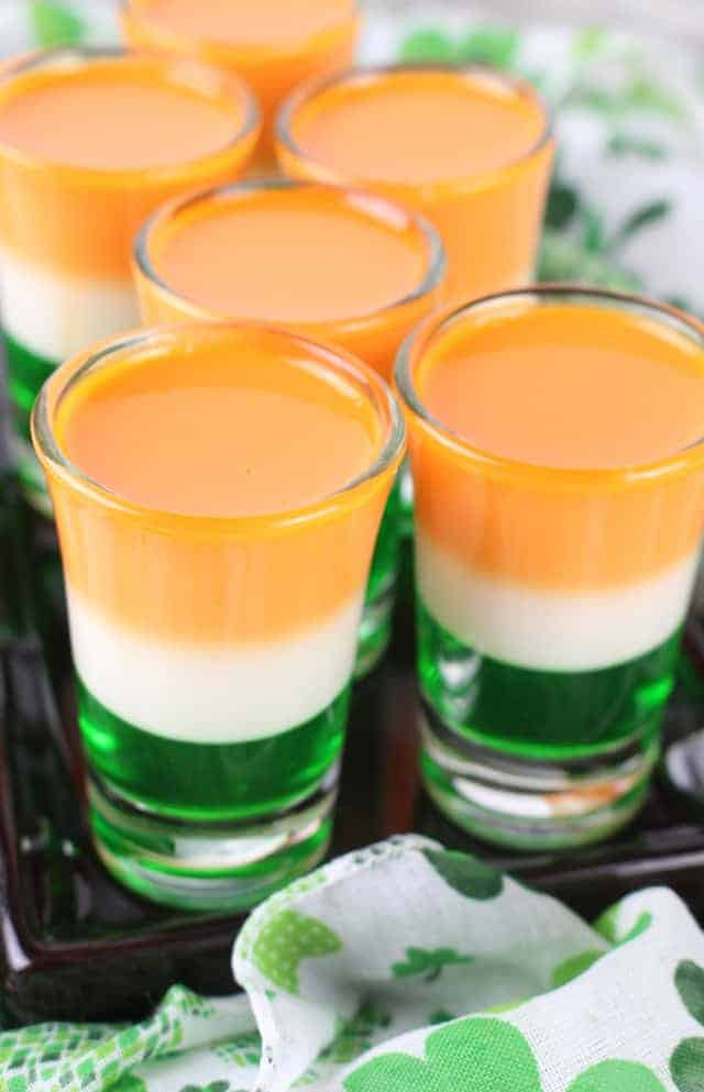 St. Patrick's Day Jello Shots side-by-side on a black plate
