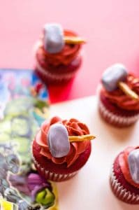 Thor Cupcakes with a white and red background
