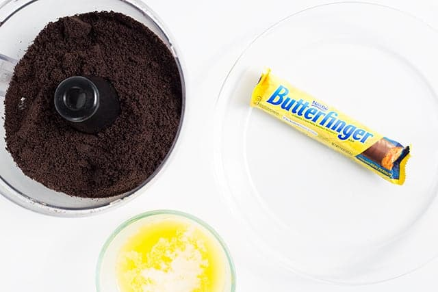 ingredients for the crust of the butterfinger ice cream pie