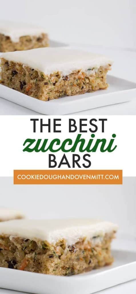 collage of photos showing off the zucchini bars on a white plate with text in the center