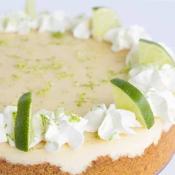 Close up showcasing the whipped cream and lime slices on the key lime cheesecake