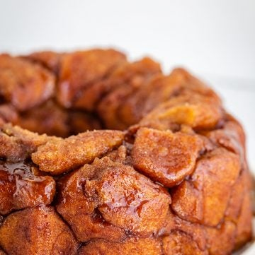 showing the caramel on the instant pot monkey bread
