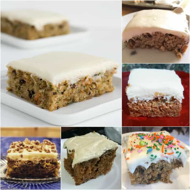 collage of zucchini bars with cream cheese frosting