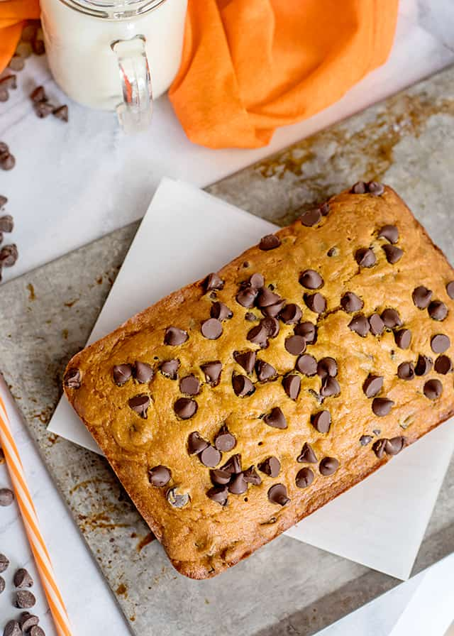 whole loaf of pumpkin chocolate chip bread on parchment paper and sheet pan