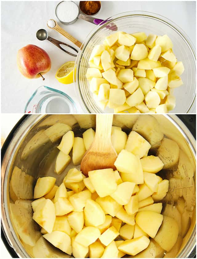 collage of step-by-step instant pot applesauce making