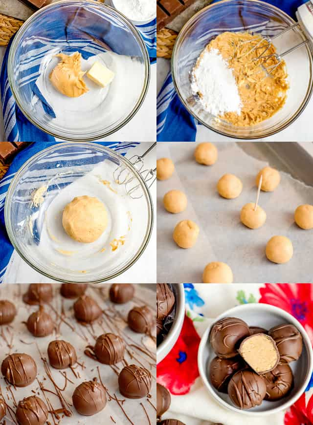 collage of step-by-step photos of creating peanut butter ball recipe