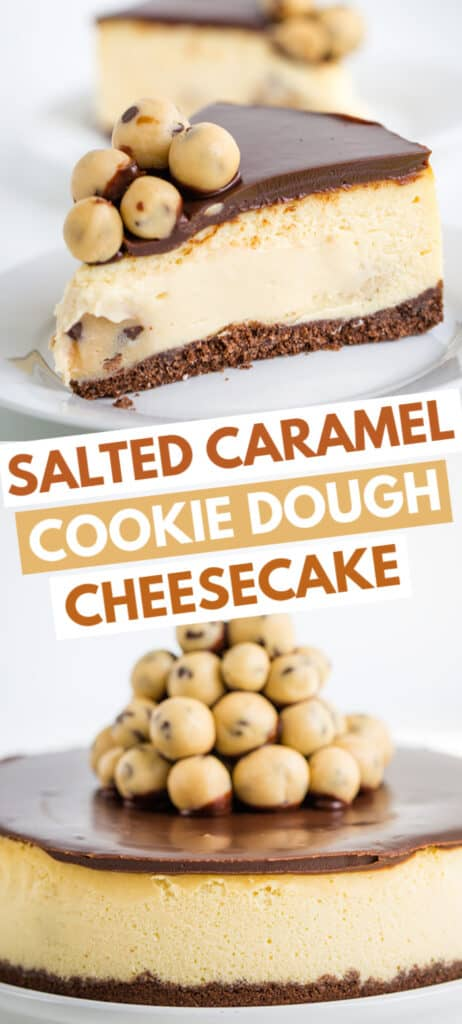 pinterest collage of two cheesecake photos with text and blocks of color
