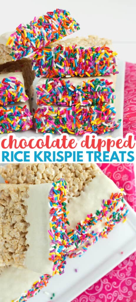 collage of two photos of chocolate dipped rice krispie treats on a white plate with pink fabric with text in the middle