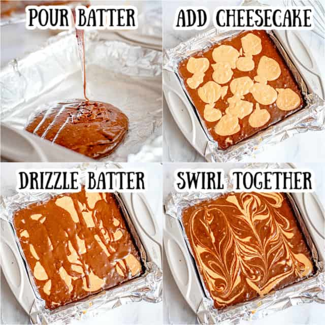step-by-step collage photos of swirling cheesecake brownies