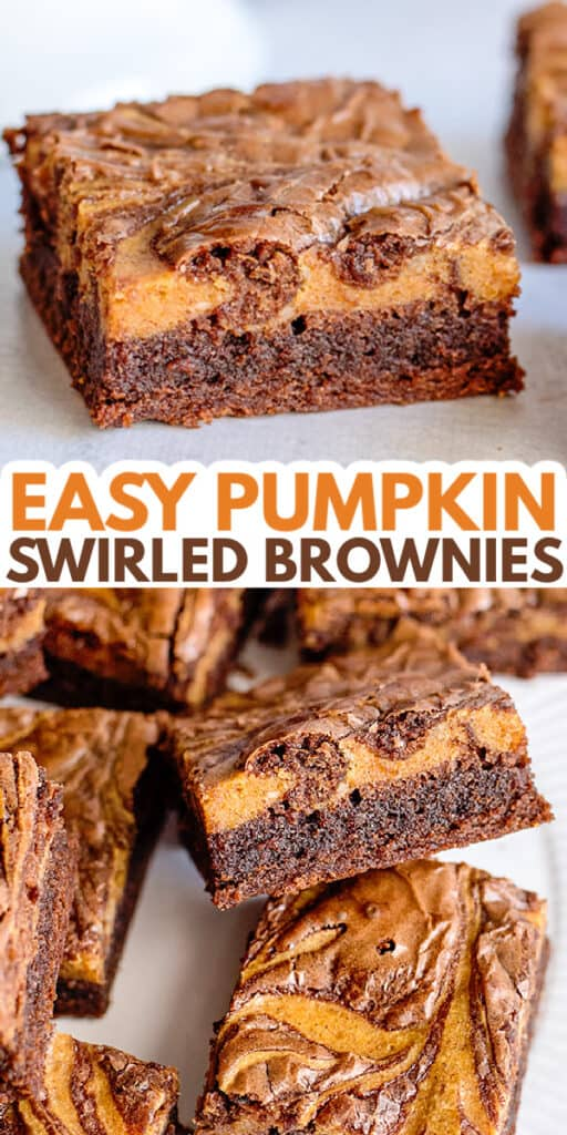 collage of pumpkin brownies showing the inside with the name in text in the center
