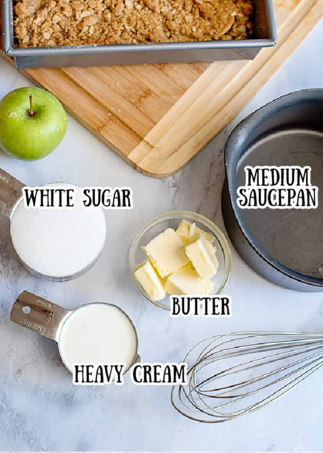 ingredients for homemade caramel sauce on a marbled background with text over each ingredient