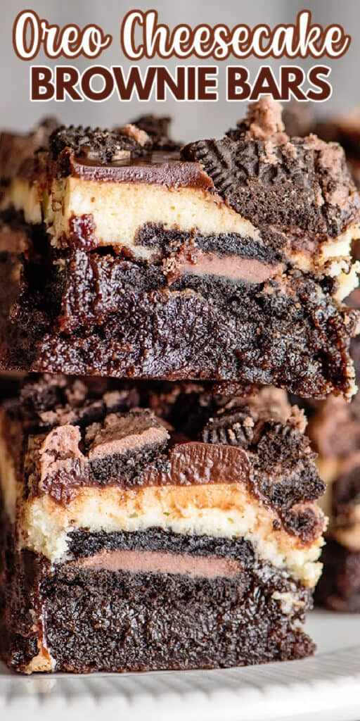 zoomed in image of a stack of brownie bars with text at the top of the image