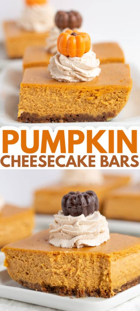 collage of two photos of a slice of pumpkin cheesecake bars one with a bite taken out of it with text in the middle