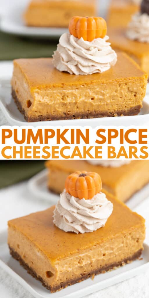collage of two photos of a slice of pumpkin cheesecake bars with text in the middle