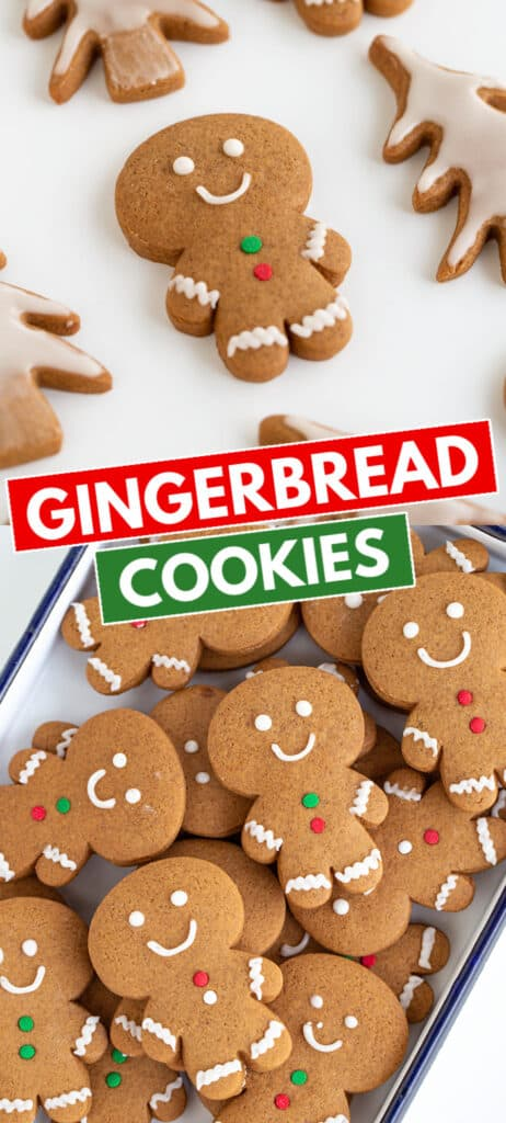 collage of photos of gingerbread cookies on a white surface with the recipe name in blocks in the middle
